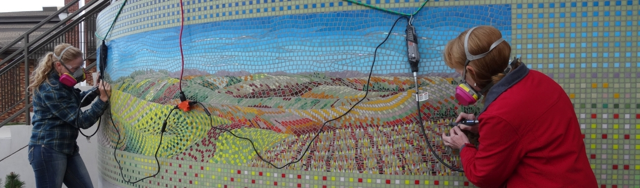 """Wheat Country"" (2014) is one of two mosaics by artist Kathleen Frugé-Brown that grace the entrance of Davenport Elementary School in Eastern Washington. Photo courtesy of the artist. Part of Washington's State Art Collection."