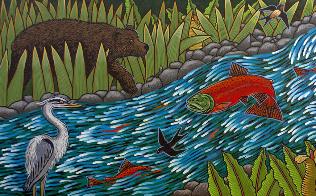 """""""River, Mountain, Forest"""" (detail) by Frank Samuelson, 2018. Located at Silverdale Elementary School, Silverdale. Photo courtesy of the artist. Part of Washington's State Art Collection."""