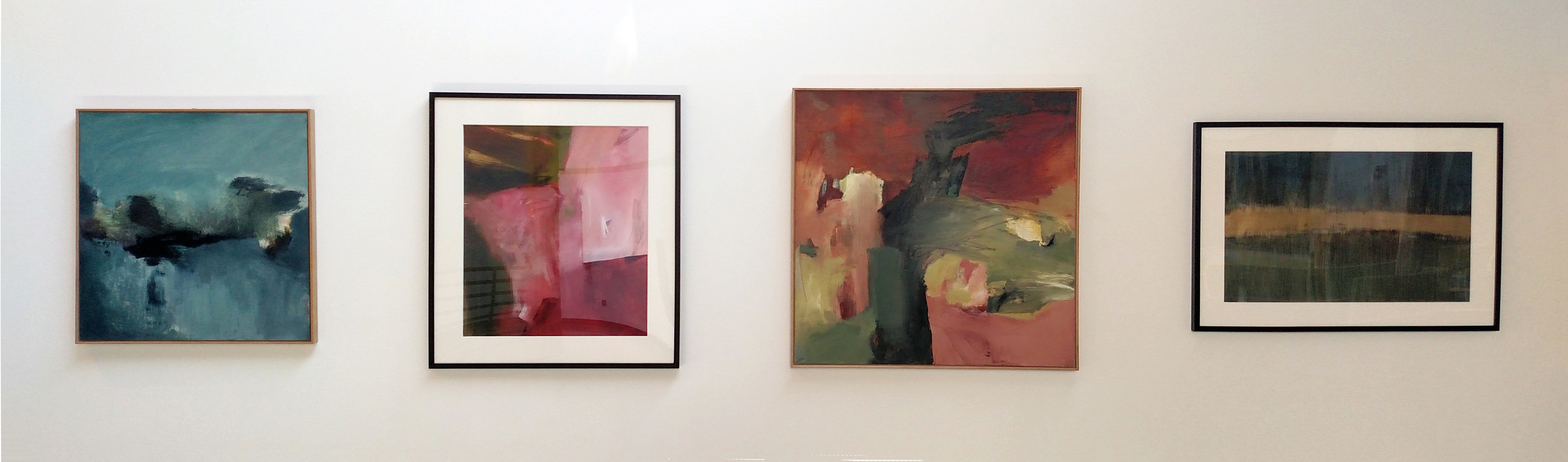 """""""Glacial Melt"""" (2015), """"Crimson Fields"""" (2014), """"Sequoia"""" (2016), and """"Shimmering Wetlands"""" (2014) by Becky Knold, located at the Evergreen State College. Curator Nathan Barnes selected these paintings for the recent renovation of Evergreen's Purce Lecture Hall in Olympia. These artworks are part of the State Art Collection.Photo by ArtsWA."""