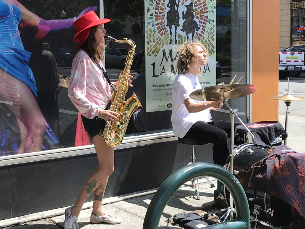street musicians play in downtown Olympia.