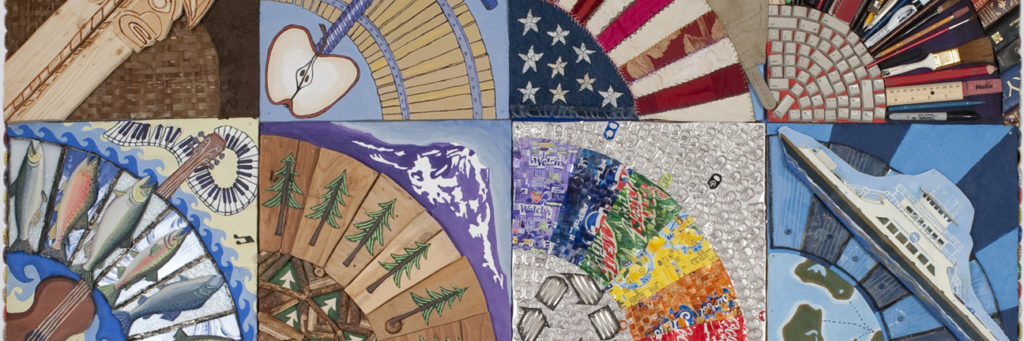 Detail of a mixed media, quilt artwork with fan shapes that represent icons of Washington State, by artist Ross Palmer Beecher.